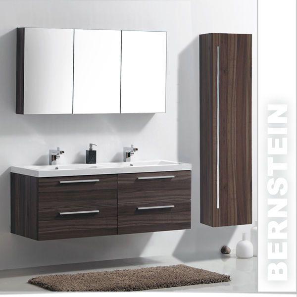 Badmöbel Set R1442R Walnuss Doppelwaschbecken Spiegelschrank hoher Seitenschrank