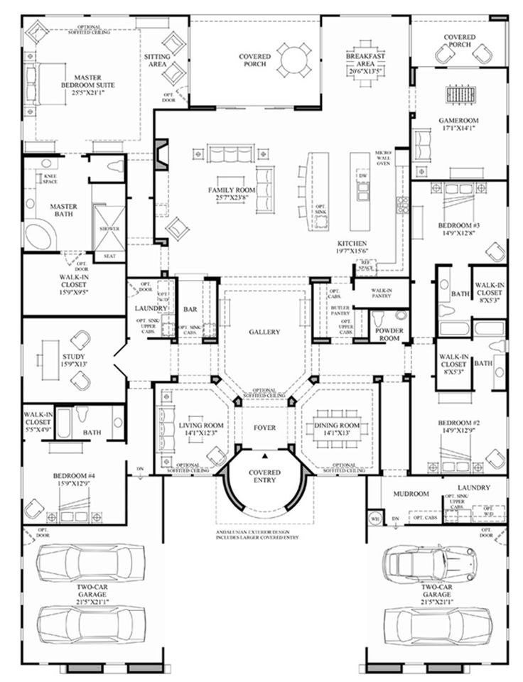 Toll Brothers - Palomar - Floor Plan. Changing to only one laundry room. Making it & bar in to bathroom and bath in bedroom #4 into closet for study