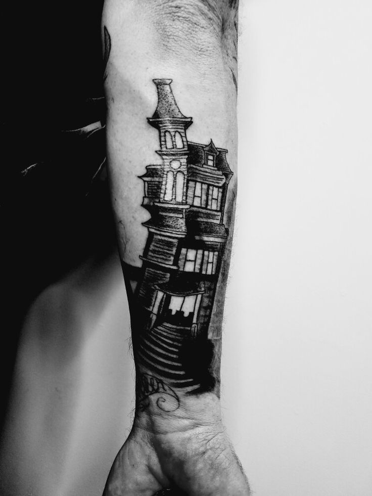 creepy mansion crooked black and grey haunted