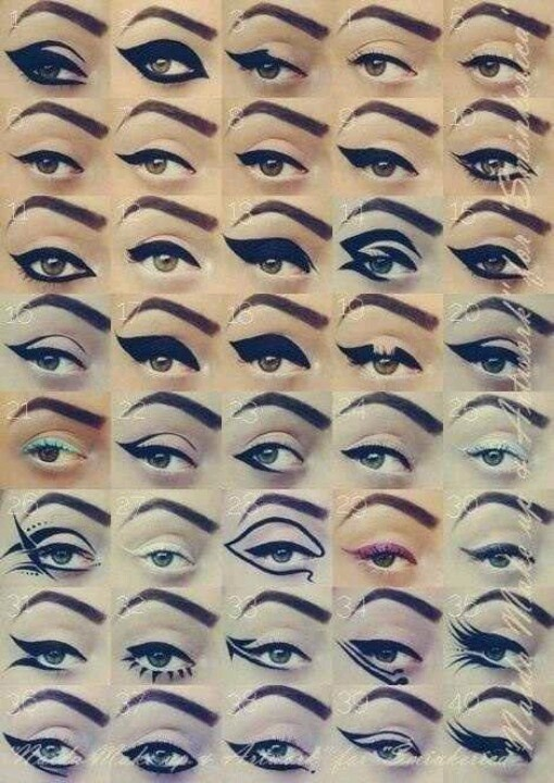 these are some seriously cool eyeliner shapes.