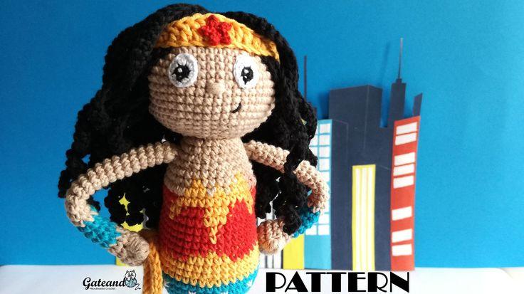 PATTERN / PATRON Wonder Woman amigurumi - 2 PDF Español e Inglés - Pattern amigurumi - Muñeca de ganchillo de GateandoCrochet en Etsy