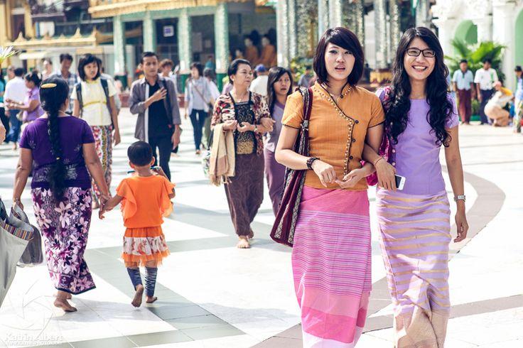 Burmese Girls Wearing A Traditional Longyi Shwedagon