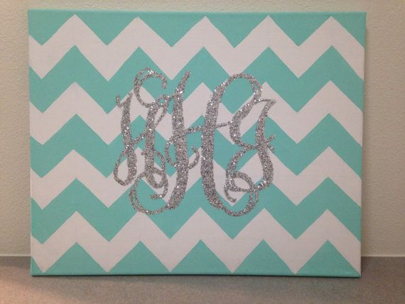 Painted chevron canvas with personalized glitter by DivaKrafts, $20.00