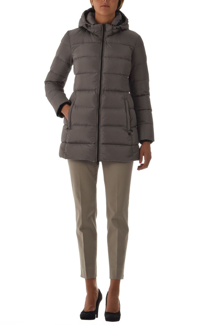 add woman down coat detachable hood