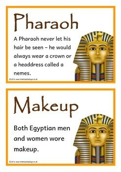 A set of 24 printable fact cards that give fun and interesting facts about ancient Egypt. Each fact card has a key word heading, making this set an excellent topic word bank/ word wall as well! Visit our TpT store for more information and for other classroom display resources by clicking on the provided links.