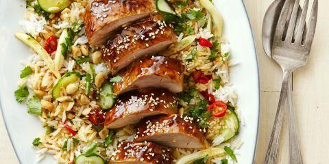 Hoisin-Glazed Pork Tenderloin with Asian Rice Salad Recipe
