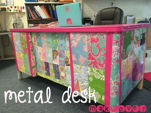 A Metal Desk Makeover Preppy Teacher Using Old Lilly Pulitzer Planner Pages