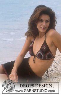 """Virkad DROPS bikini-överdel och stickad DROPS kjol i """"Muskat"""". ~ DROPS Design"""