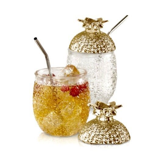 Glass Pineapple Tumblers (Set of 2) Gold Lid w Stainless Steel Straw Cocktails