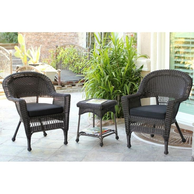 Jeco 3 Piece Espresso Wicker Patio Chairs And End Table Furniture Set    Black Cushions
