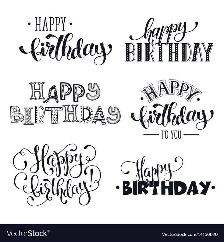 Hand written happy birthday phrases vector image o…