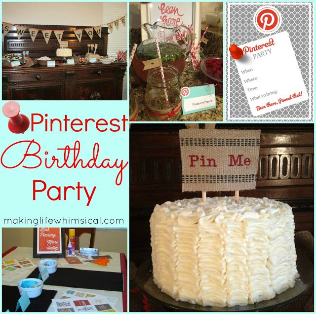 Making Life Whimsical: Pinterest Birthday Party - I love it! Wish someone would throw a Pinterest party for me (: