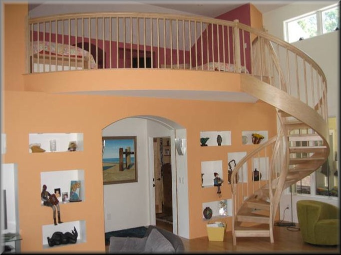 Maple Spiral Stair With Curved Balcony Rail Unique Spiral Stairs