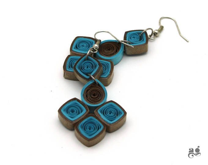 Paper Quilling Earrings, Blue Brown dangler, Statement earring, 1st Anniversary gift for her, Gift for Bridesmaid, Comfortable Jewelry