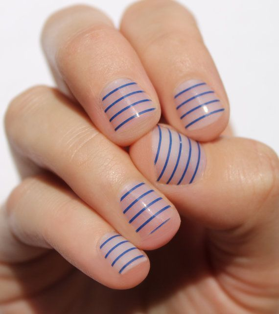 navy stripes transparent nail wraps by sogloss on etsy 800