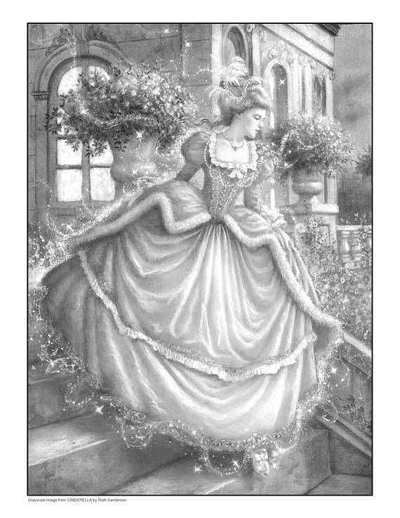 CINDERELLA Set of 4 Grayscale Coloring Pages | fairy-tales ...
