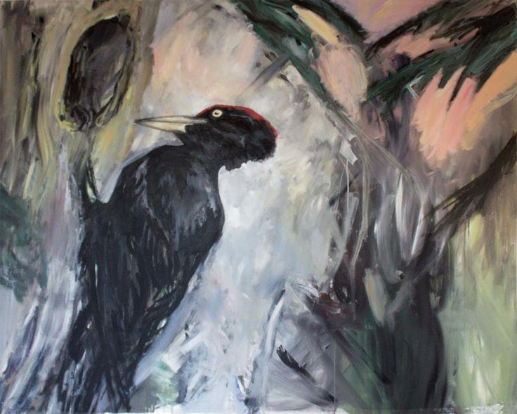 Sort Spætte by Louise Bech Pedersen #kunst #kunstner #maleri #tegning - Beauton Art Gallery - http://beautonart.com   http://beautonart.dk