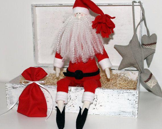 Doll Santa Claus Rag tilda soft cotton fabric doll by DollsByJulia
