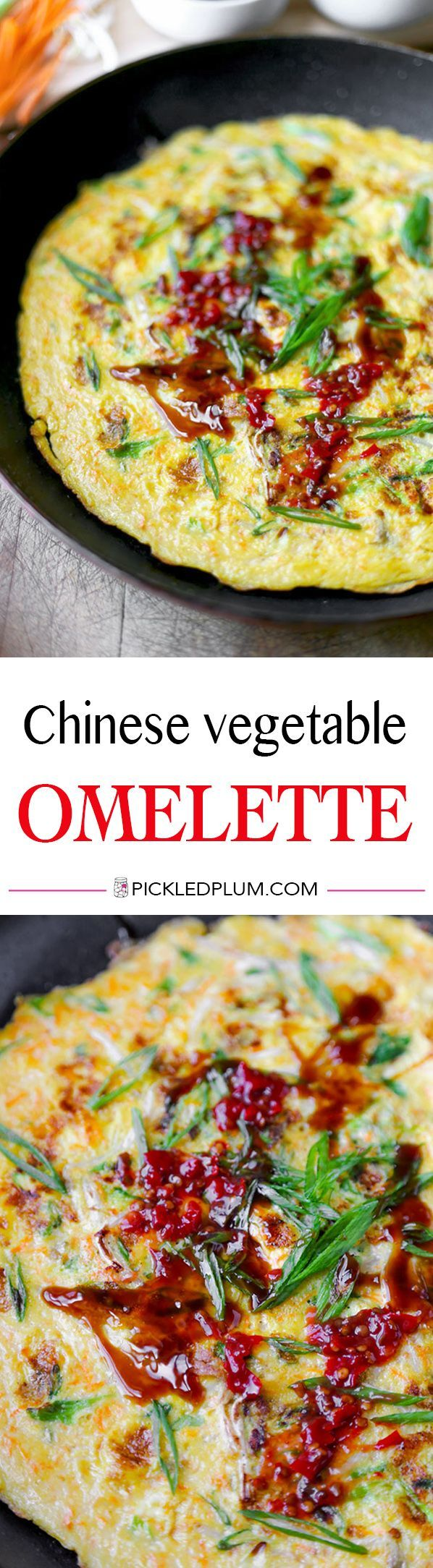 Chinese Vegetable Omelette - A simple Chinese vegetable omelette with Maggi seasoning and topped with oyster sauce. This recipe is so yummy, it will become part of your weekly meal rotation! We love this for brunch! Easy, Quick Recipe | pickledplum.com