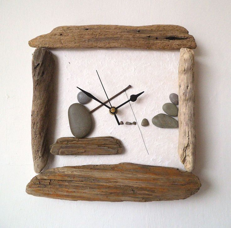 driftwood clock pebble art clock pebble fisherman beach wall clock nautical clock wood. Black Bedroom Furniture Sets. Home Design Ideas