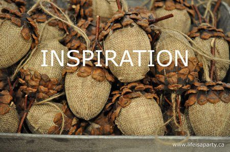 acorn craft ~ how to directions using plastic egg, burlap and pine cones