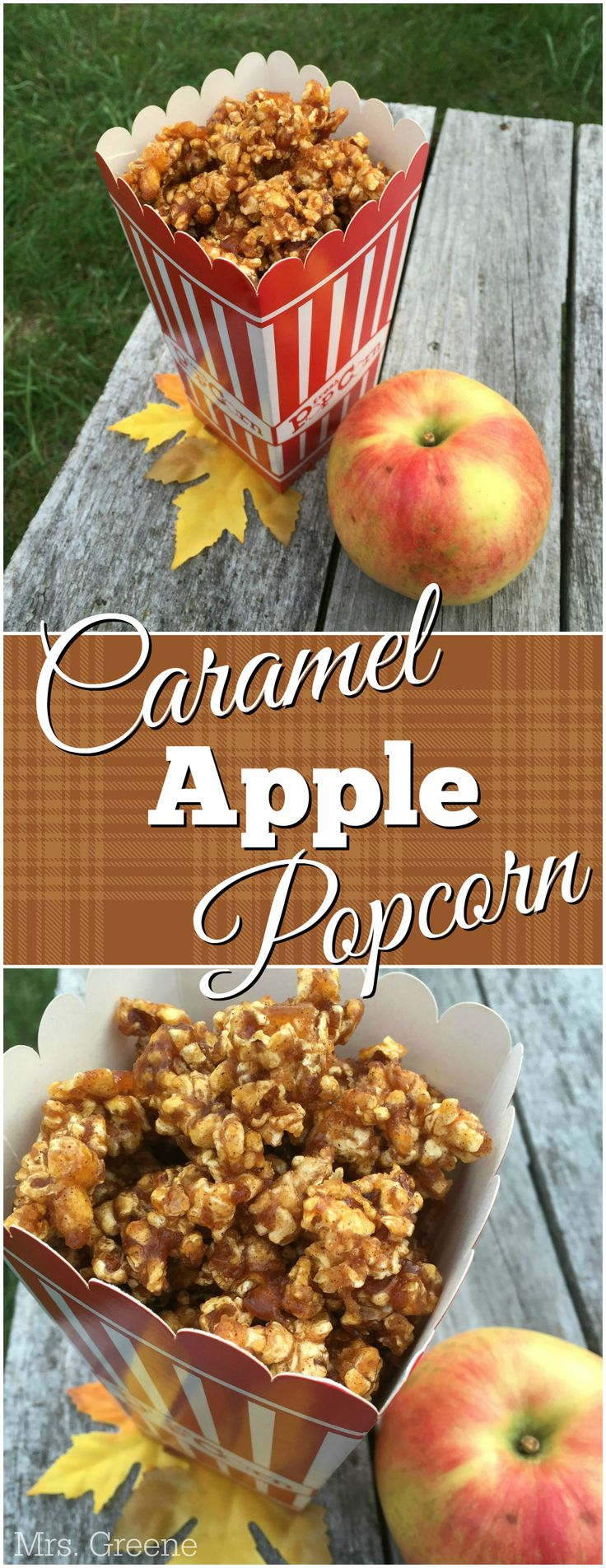 Caramel Apple Popcorn - delicious and inexpensive idea for a holiday treat! You can even get most of the ingredients you need at the dollar store, including popcorn boxes to package it in for gifting!