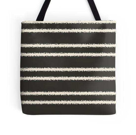 Striped grey pattern tote bag