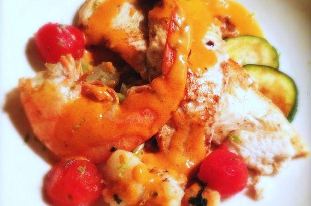 Schol met gamba's, cherry tomaten en venkel - Francesca Kookt