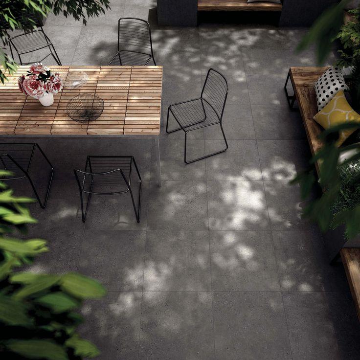 perfect garden dcor design idea for a intimate courtyard patio or seclude adult garden floor tiles from solus ceramics - Concrete Tile Garden Decor