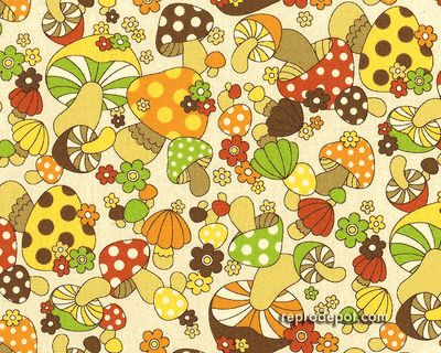70s wallpaper Retro Mushrooms Pinterest Vintage