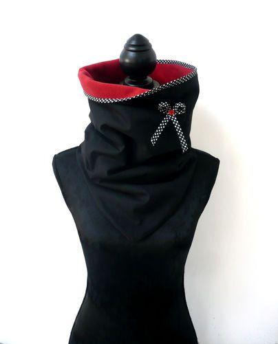 Col Snood polaire et coton noir et rouge