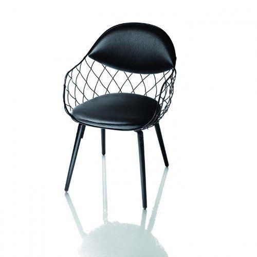 Magis Piña Stuhl - Leder, schwarz lackiert Beine lackiert