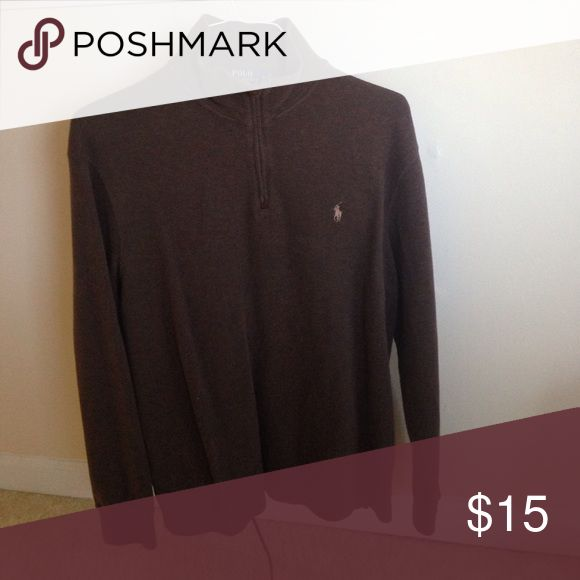 Men's brown polo pullover Polo pullover perfect condition Polo by Ralph Lauren Sweaters Zip Up