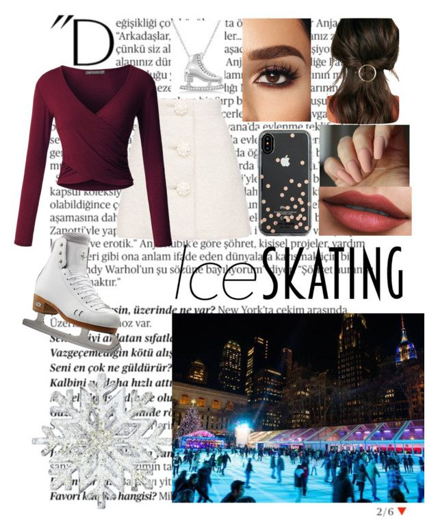 """""""Ice skating ❄️❄️❄️"""" by raneliperera on Polyvore featuring Balmain, LE3NO, Allurez, JustFab and Kate Spade"""
