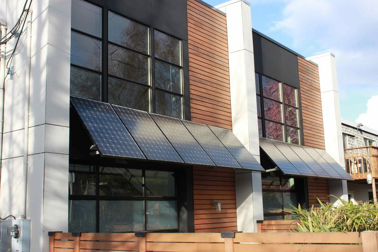 Solar panels used as awnings - super cool.