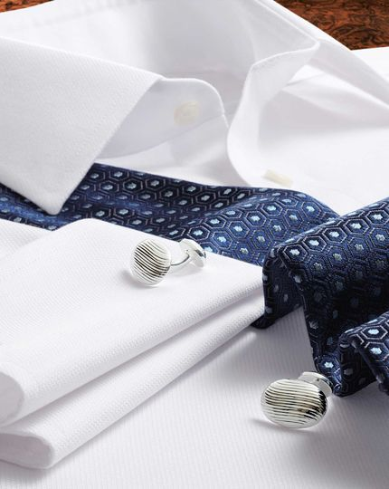 Slim fit non-iron micro spot white shirt