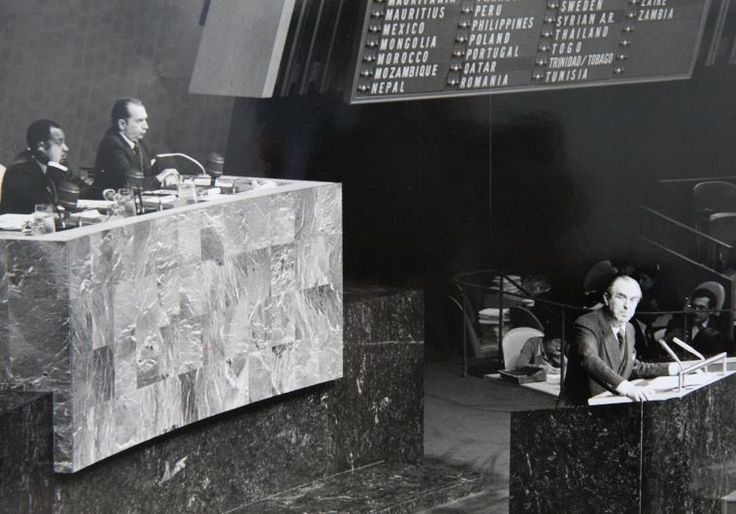 """40-year anniversary of """"Zionism is not racism"""" speech to the UN by Then-Ambassador Chaim Herzog speaking to the United Nations in 1975 Photo By: HERZOG FAMILY FOUNDATION"""