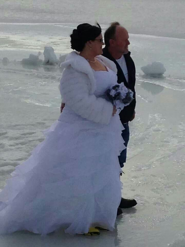 Me and my dad walking onto a frozen lake to give me away...