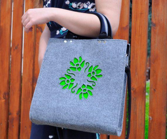 FELT HANDBAG felt grey green bag woman grey green by CelticSecrets