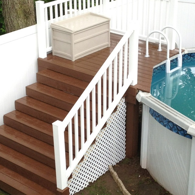 Trex deck for the pool