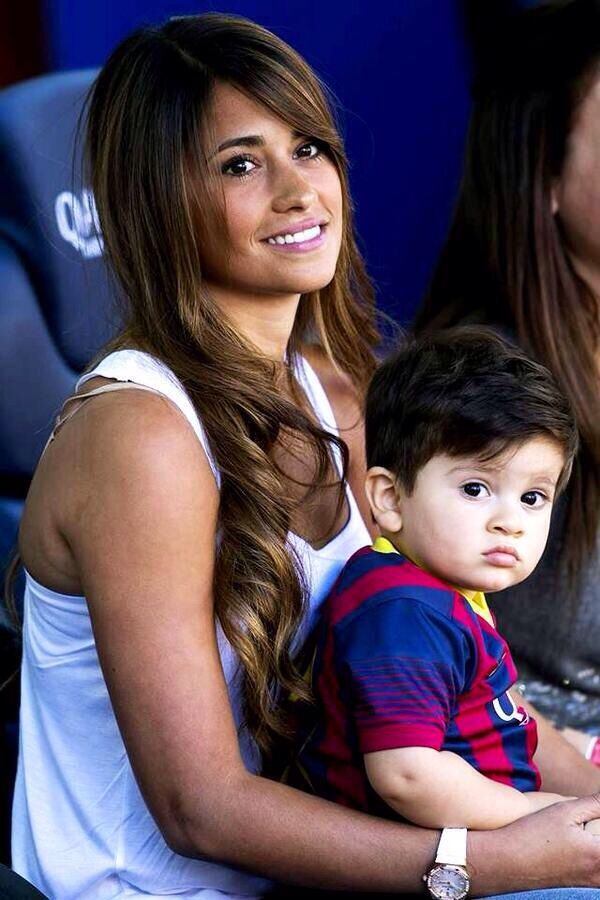 Lionel Messi's gf, Antonella with their son Thiago Messi