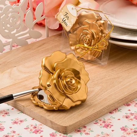 Ornate Matte Gold Rose Compact Mirror | Wedding Favor Discount