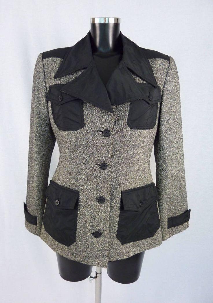 Veste de tailleur noire et blanche, veste blazer en laine et soie, années 90, marque Irié, Taille L de la boutique TheNuLIFEshop sur Etsy
