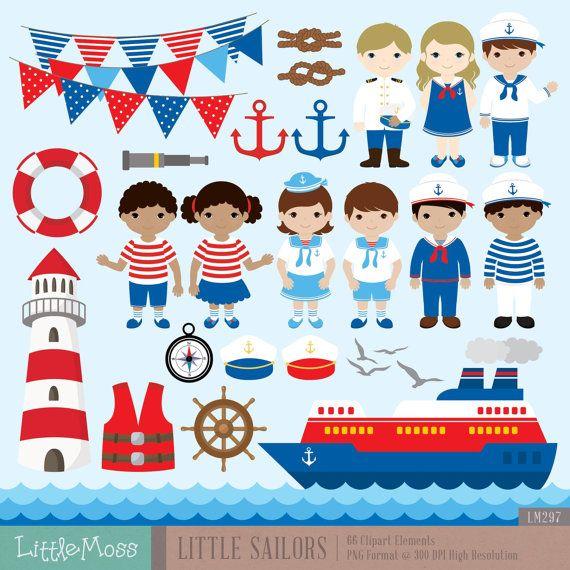 Little Sailor Digital Clipart Nautical Clipart by LittleMoss