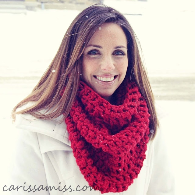beautiful model, beautiful cowl or hood, using a N hook, all double crochet--goes fast!