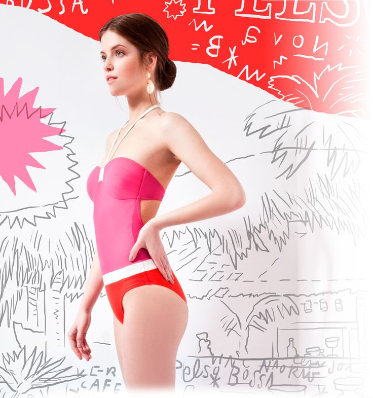 Pink and red stylish one-piece bathing suit @pelsoswimwear with Stark Attila graphic design