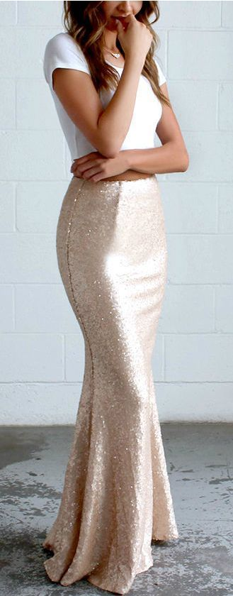 Sea Spray Matte Gold Sequin Maxi Skirt - Lulu's                                                                                                                                                      More