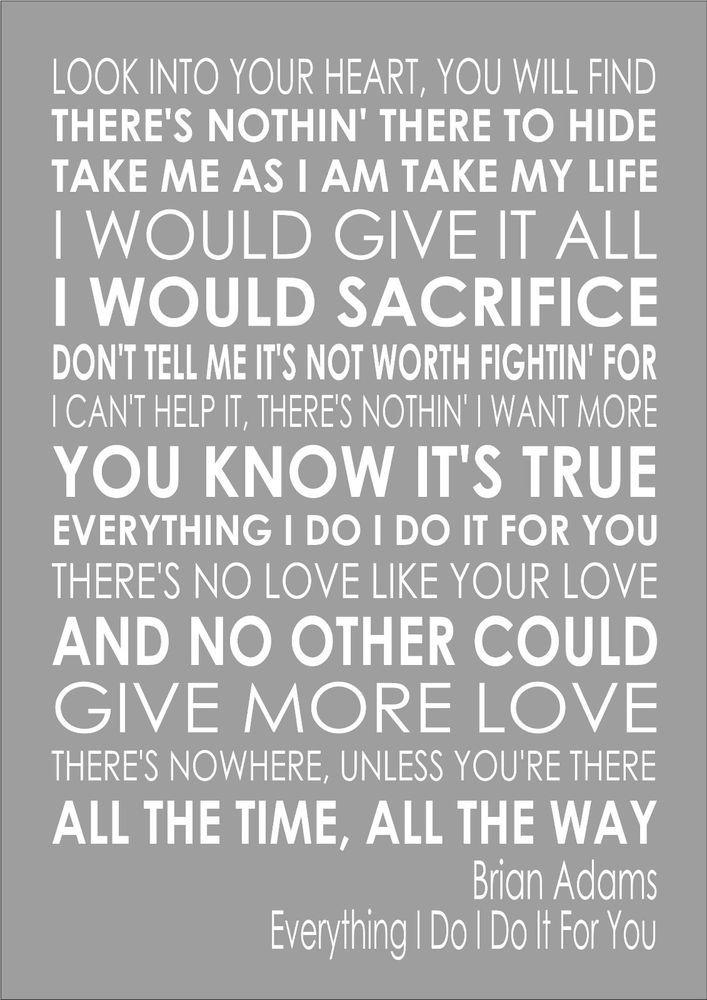 Everything I Do - Bryan Adams - Word Wall Art Typography Song Lyrics Lyric