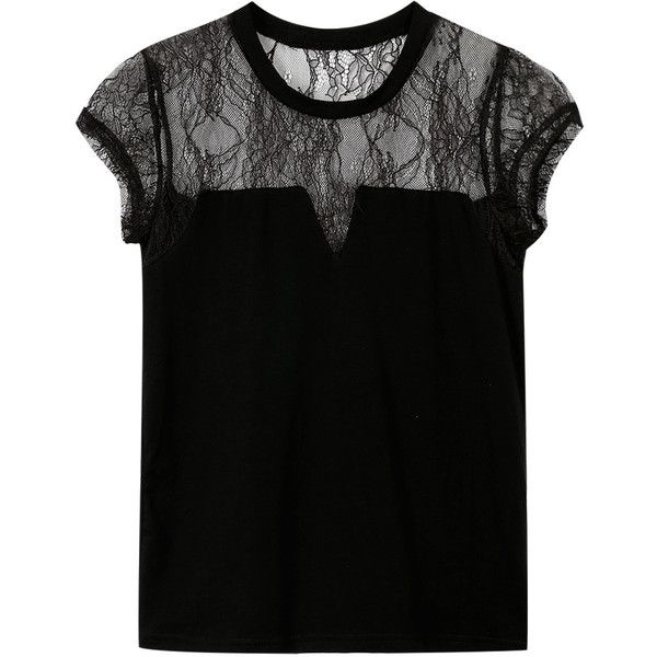 Yoins Black Hollow Out Lace Crew Neck T-shirt (250 ARS) ❤ liked on Polyvore featuring tops, t-shirts, shirts, black, snap shirt, shirt tops, snap button shirts, crew neck tee and snap t shirts