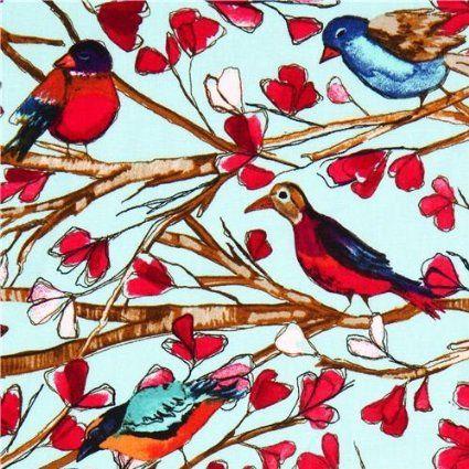 Amazon.com: Michael Miller Tecido Pássaro Asa Canção ramo da flor (POR 0,5 m Múltipla): Artes, Artesanato e Costura